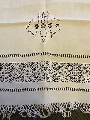Pair of ANTIQUE embroidered & lace LINEN / SILK TABLECLOTHS - 1920s or earlier for sale  Shipping to Canada