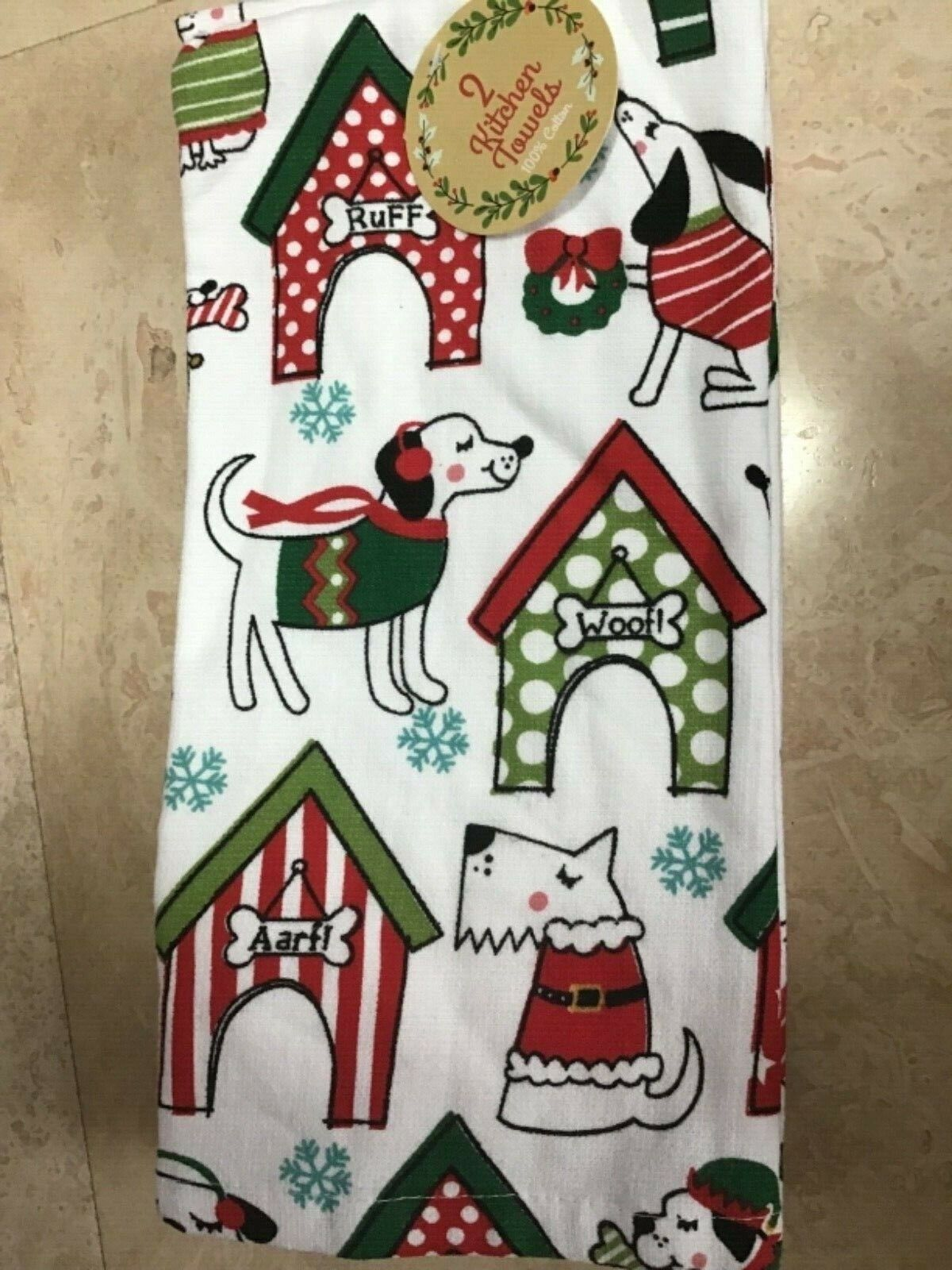 RITZ  KITCHEN  TOWELS  DOGS CHRISTMAS SWEATERS 100% COTTON N