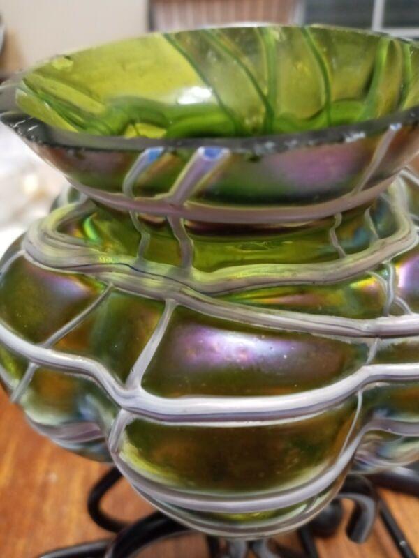 PURPLE Art Nouveau KRALIK Glass VASE Threading  Iridescenc*SHIPS FREE* REDUCED