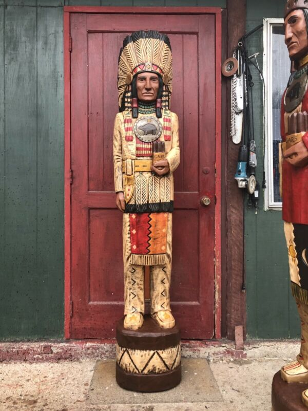 John Gallagher Carved Wooden Cigar Store Indian 6 ft Tall Statue Fine Details