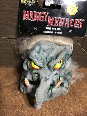 Rubber Face Masks Halloween (Halloween face mask Mangy Menaces One Troll Monster)