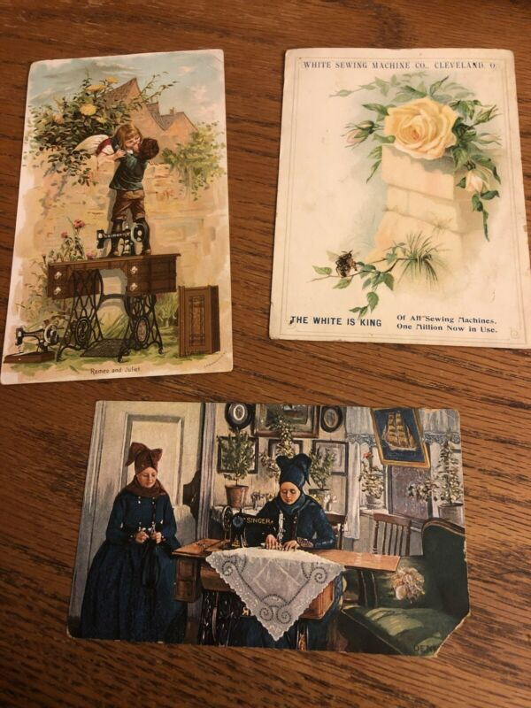 Lot Of 3 Vintage Seeing Machine Advertising Cards Singer White Sewing Machine Co