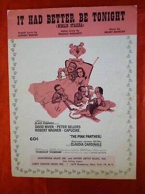 PINK PANTHER Movie Sheet Music IT HAD BETTER BE TONIGHT 1964 PETER SELLERS