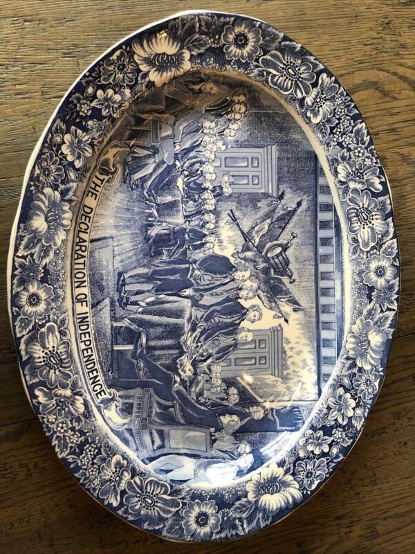 "RARE Declaration of Independence Liberty Blue 20"" Turkey Platter"