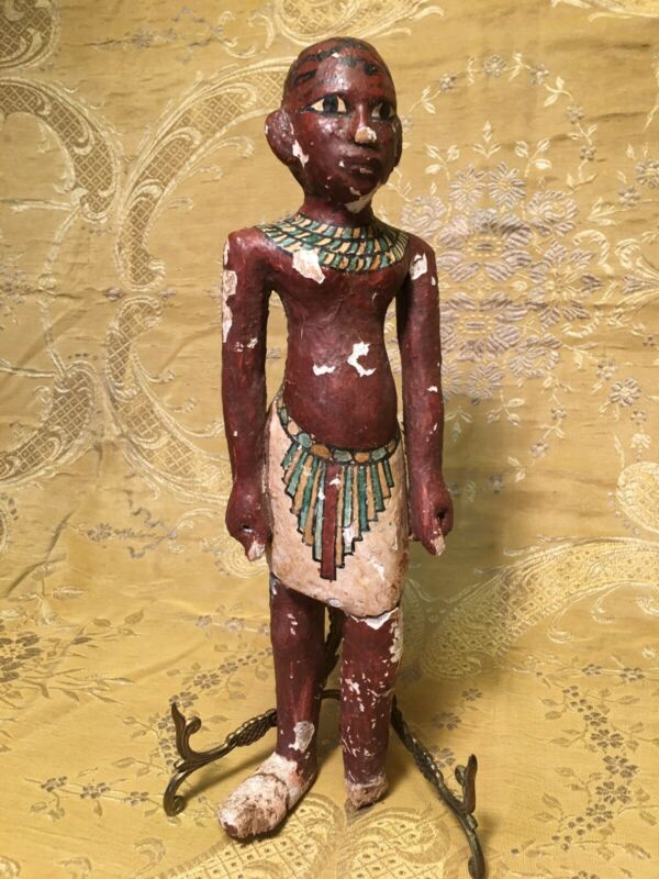 Antiquities Egyptian Standing Male Figure Painted Gesso On Wood 4th Dynasty BC