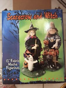 Scarecrow and witch ornament