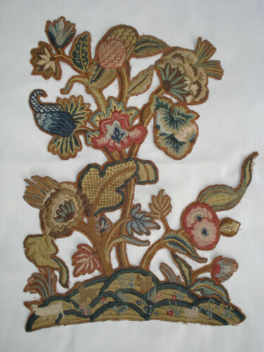 antique crewelwork  jacobean flowers squirrels sheep  wool embroidery on linnen