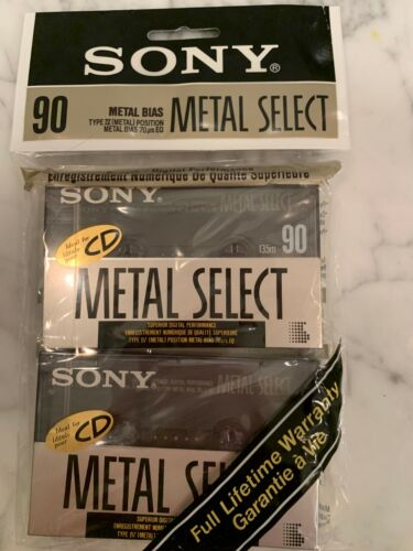 SONY  METAL  SELECT  90 TYPE IV AUDIO CASSETTE TAPE NEW JAPAN MADE - 2 PACK