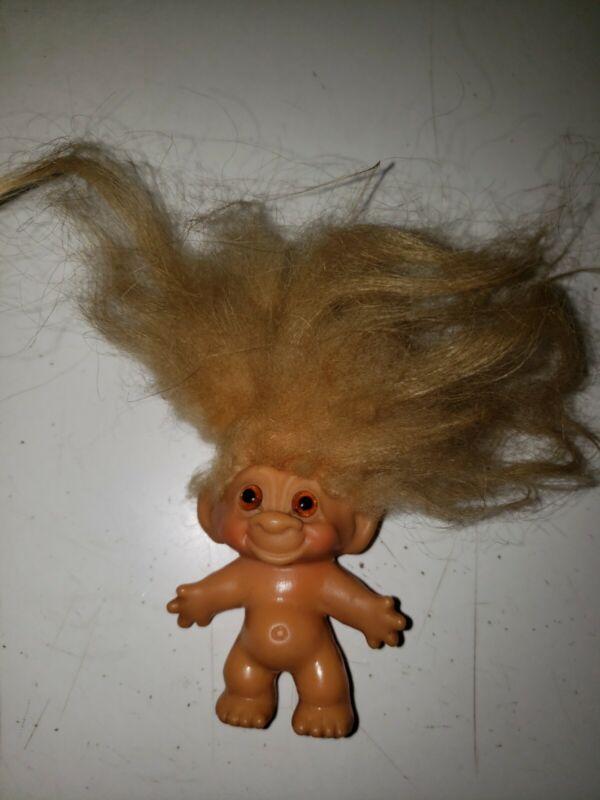 Small vintage 1960's  Dam Troll Doll Original Mohair & Glass Eyes