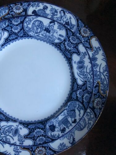 Vintage Blue & White Wood & Sons England buddha luncheon plates