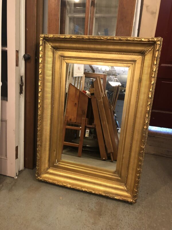 """Large 50.5"""" x 36"""" 19th Century Hudson School Style Gilt Gesso Picture Frame"""