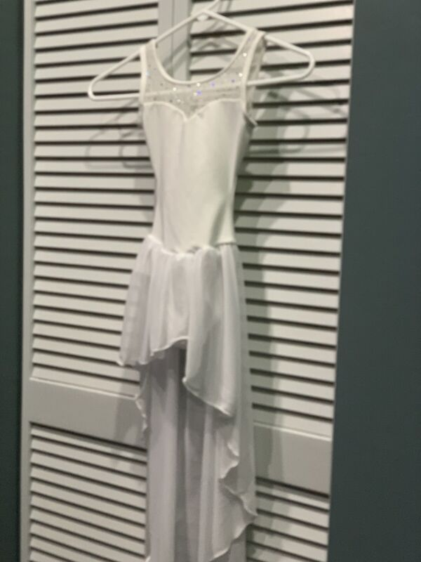 Body Wrappers White LYRICAL CONTEMPORARY DRESS DANCE COSTUME Size 6 X - 7 I
