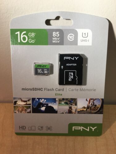 NEW PNY 16GB Micro SD Card With Adapter