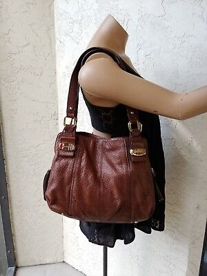 B . Makowsky Bailey Woven Embossed Glove Leather Medium Shopper Brown for sale  Sarasota