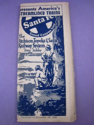 1938 SANTA FE RAILROAD Booklet TIME TABLE,..64 pages..nice