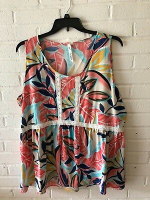 New NY Collection Woman's Crochet Trim Sleeveless Jersey Knit Top Plus Size  V90