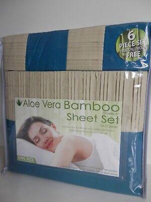 ALOE VERA BAMBOO ESSENCE 6 PIECE SHEET SET 1800 SERIES TEAL&TAN TRIM *KING SIZE*