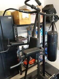 Boxing stand and punching bag.