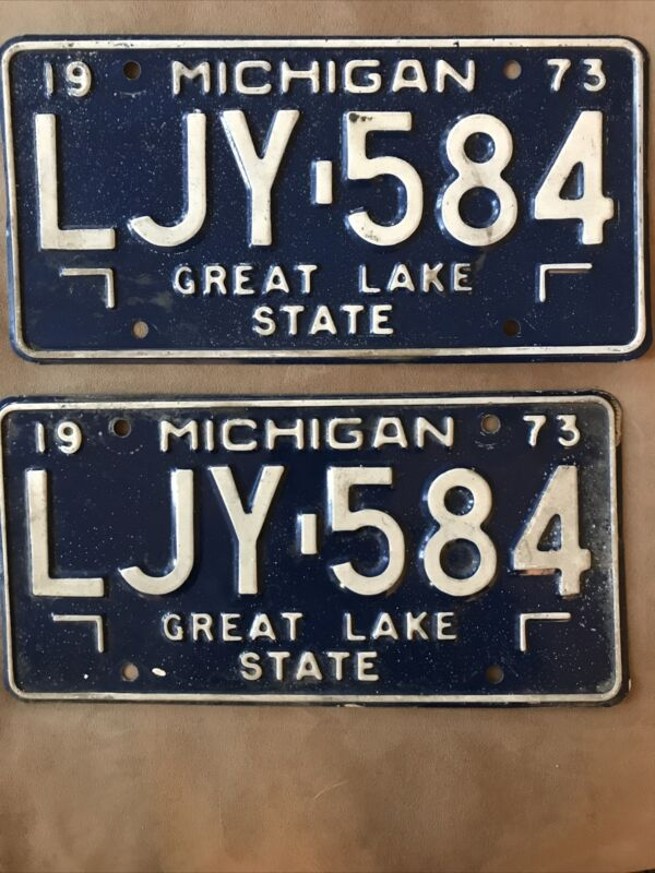 1973 Michigan License Plates, Pair, #LJY 584