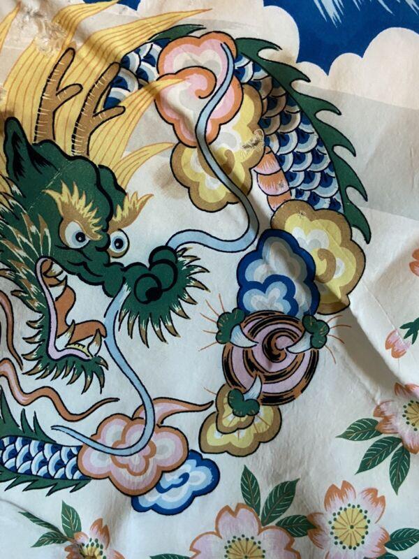 Vintage Asian Dyed Dragon Design Silk Scarf