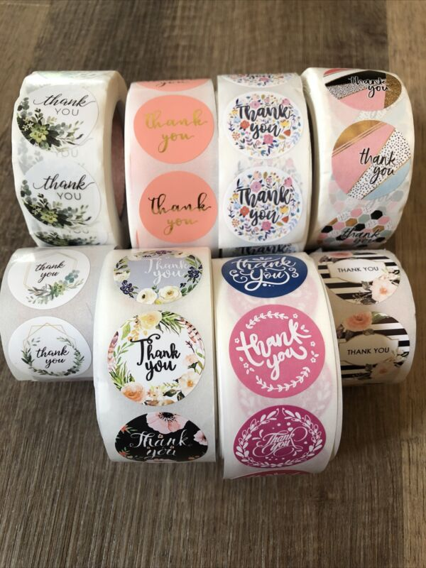 100 Assorted 1 Inch Thank You Stickers Variety Pack (set 2)