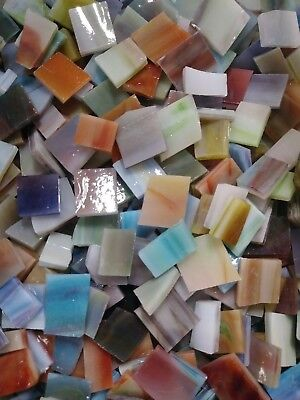 Hand Cut VARIEGATED MULTI-COLOR Stained Glass Mosaic Scrap Pack, 100 PIECES Color Hand Cut Glass
