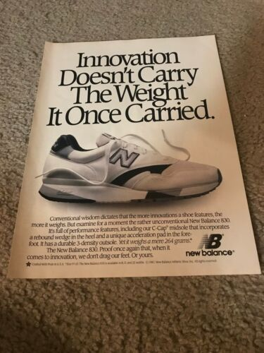Vintage 1988 NEW BALANCE 830 Running Shoes Poster Print Ad NB 1980s RARE