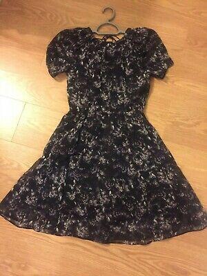 H & M Black/Purple Panther Print Tea Dress Size 36/8