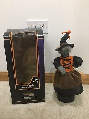 Animated Halloween Witch and Cat Lights and Sounds 1996 READ DESCRIPTION