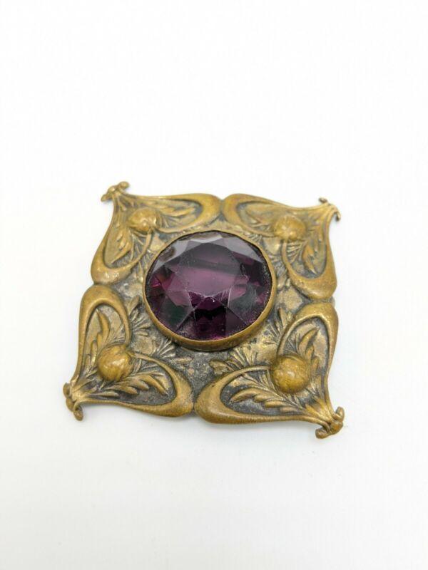"""Antique Edwardian Bronze Purple Stone Brooch 1.5"""""""