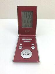 Sharp Travel Alarm Clock Pocket Digital Back Lit Snooze Credit Card Size SPC303