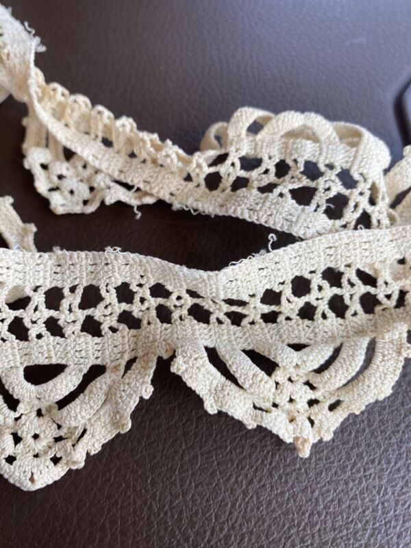 """38"""" Antique French Ecru Thick Lace Trim, Edging, Doll Crocheted Old"""