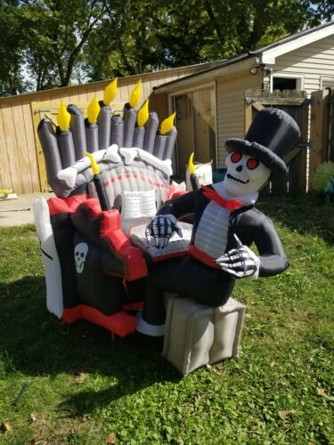 SEE VIDEO!!! Inflatable Airblown Animated Organ Skeleton Player Piano Halloween