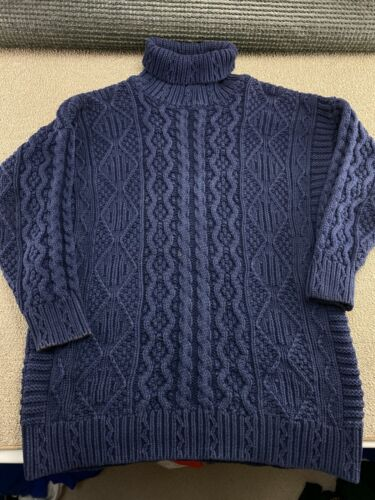 The Gap Sweater Heavy Cable Knit Blue Pullover Cotton sweatshirt jacket VTG