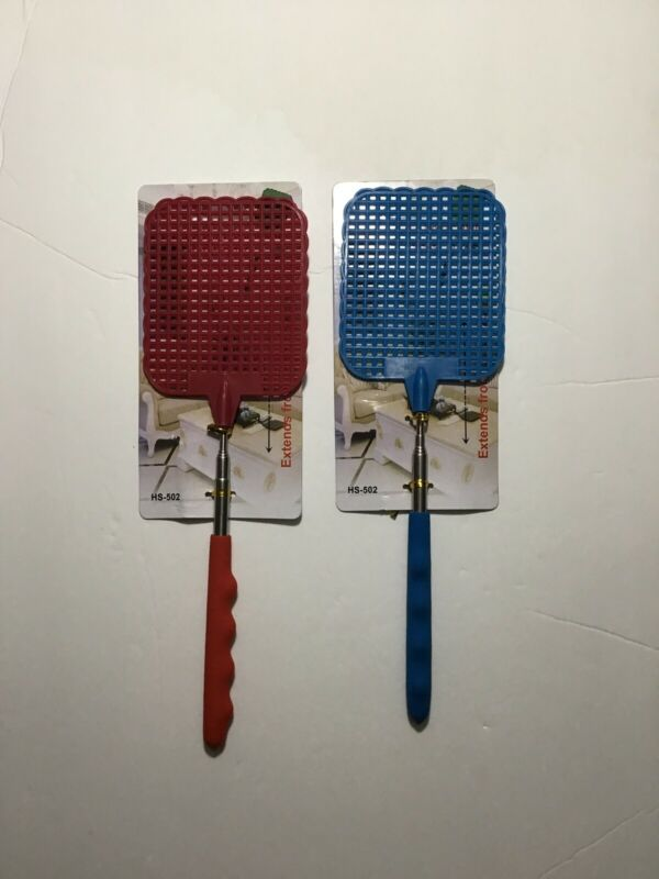 """2 PC NEW EXTENDABLE FLY SWATTER WITH CUSHION GRIPS - EXTENDS TO 18"""""""