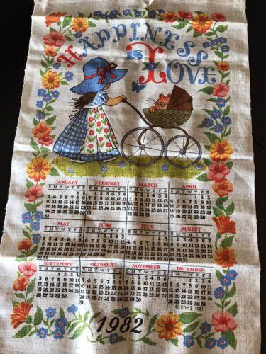 Vintage 1982 Happiness Is Love Calendar Kitchen Towel