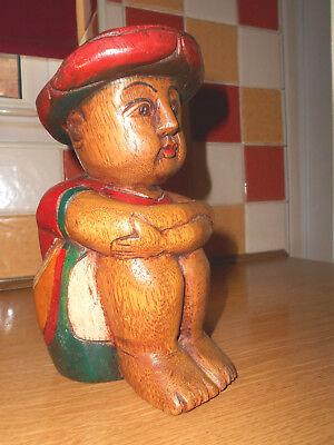 Vintage Carved and Painted Oriental Man