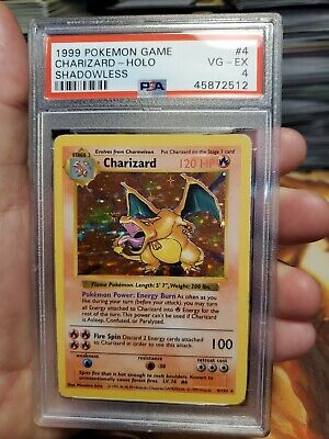 Pokemon 1999 Base Set Shadowless Holo Charizard #4 PSA 4 VG-EX Card