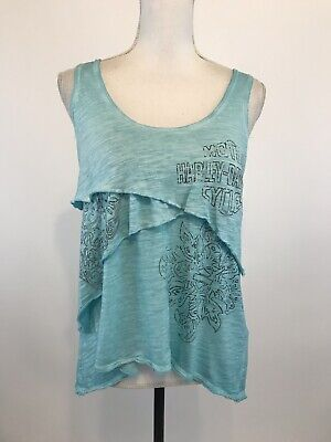 Harley Davidson Aqua Blue Burnout Sleeveless Layered T-Shirt Small Aqua Burnout T-shirt