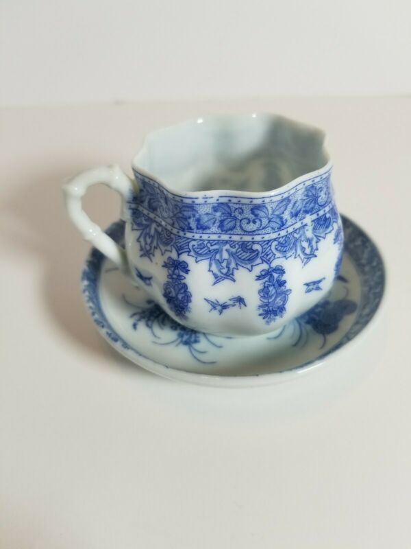 Vintage Tiny Blue And White Scallop Edged Tea Cup And Saucer Signed