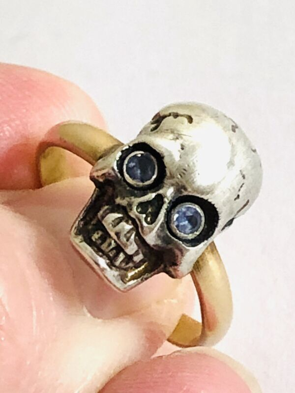 Fine  9 Ct Gold Memento  Mori Sterling Silver Skull Ring , Natural Aquamarines