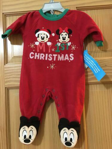 NWT Disney Store Mickey and Friends Fleece  Sleeper Baby Holiday