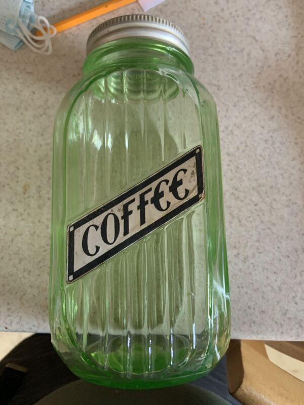 Large 40 oz. Hoosier Green Ribbed Coffee Depression Glass Canister Jar - 8""