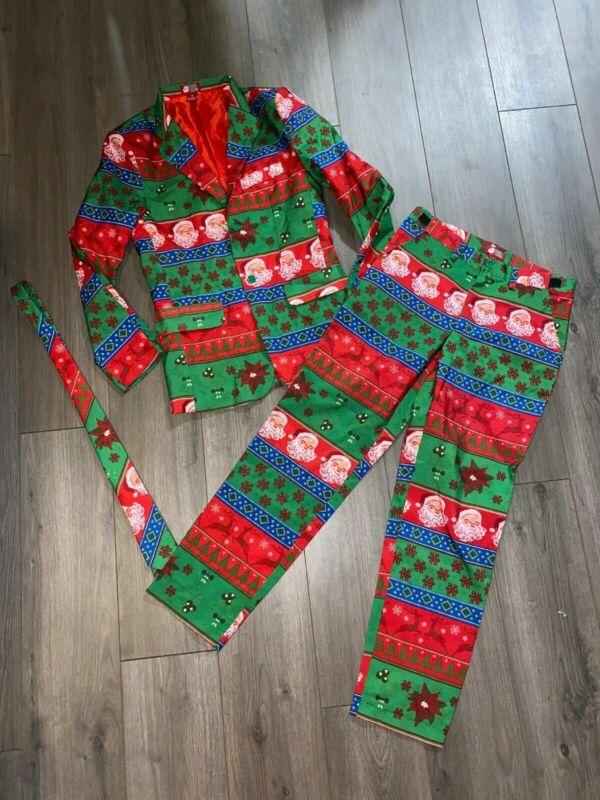 Dec 25 Ugly Sweater Men's Christmas Suit, Jacket, Pants, Tie, Size Small Santa