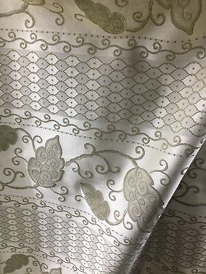 - SAGE BEIGE LEAVES FLORAL UPHOLSTERY BROCADE FABRIC (54 in.) Sold By The Yard