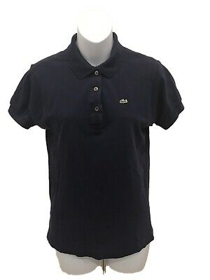 Lacoste Womens Navy Blue Short Sleeve Polo Shirt 36