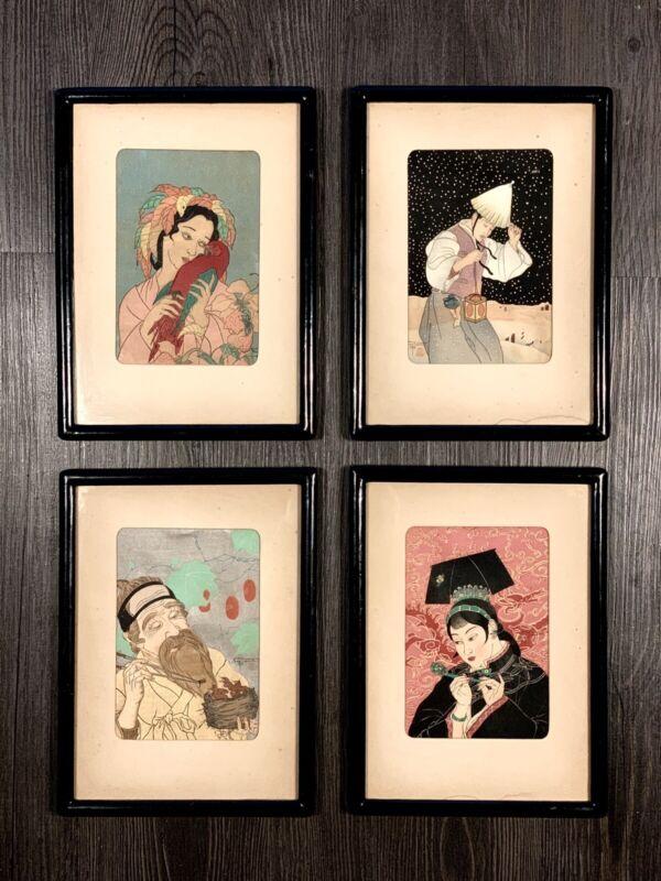FOUR ORIGINAL PAUL JACOULET JAPANESE WOODBLOCK PRINT CHRISTMAS CARDS FRAMED