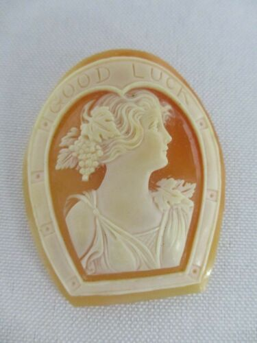 """ANTIQUE CARVED SHELL CAMEO """"GOOD LUCK"""" HORSESHOE with LOVELY LADY 1 3/4"""""""