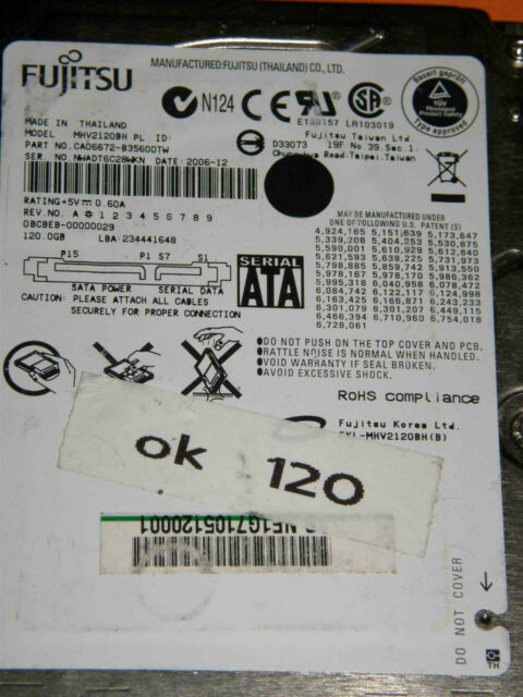 120 GB Fujitsu MHV2120BH PL / P/N: CA06672-B35600TW / 2006-12 Notebook Hard Disk