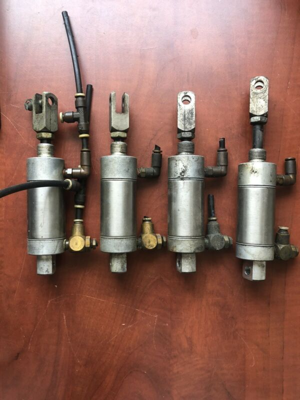 "Lot of (4) Parker 0.50DPSR01.0 Pneumatic Air Cylinders & Control Valve 1"" Stroke"